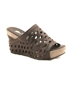 Take a look at this Black Eyelet Peep-Toe Wedge Sandals by Antelope on #zulily today!