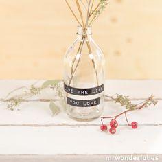 "Botella de cristal ""Live the life you love"""