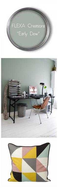 Mooie kleur voor woonkamer! Early dew - FLEXA onze mooie muurverf... mijn lievelingskleur! Kleurnummer 3031 flexa creations.