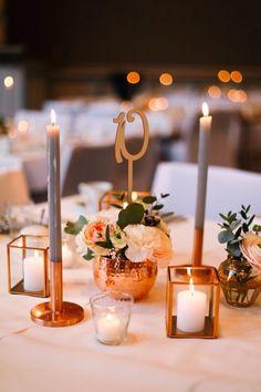 Dekoration | Tischdeko | Kupfer | rustikal | Hochzeit | Blumen | Kerzen | Eukalyptus | Copper | Weddingtable | Tischdekoration | Hochzeitsdeko | grau | peach | blush |