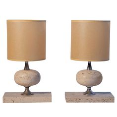 1970s French Travertine Table Lamps | From a unique collection of antique and modern table lamps at http://www.1stdibs.com/furniture/lighting/table-lamps/