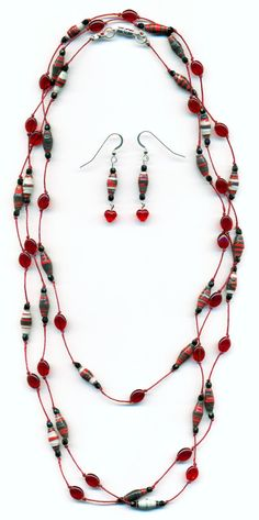 Red Paper Bead Hand Knotted Lariat Necklace by FeithHodgeCreations