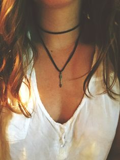 Chocolate Brown Leather Double Wrap Choker Necklace + Arrow Charm by…