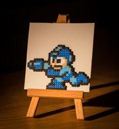 Mega Man made of mini perler beads by OneUpBeads
