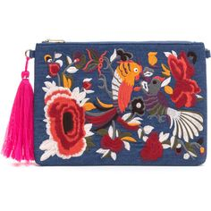 Folk Tale Embroidered Denim Clutch ❤ liked on Polyvore featuring bags, handbags, clutches, denim handbags, blue clutches, embroidered purse, denim purse and embroidery purse