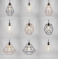Diy new wire cage pendant light diamond ceiling chandelier edison ...