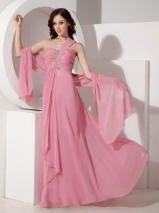 Exquisite Pink One Shoulder Floor-length Dress for Prom with Appliques