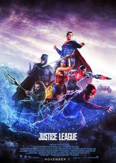 Justice League Movie Poster 2017 Featuring the Flash, Wonder Woman, Aquaman, Batman and Superman, Check out all the Easter Eggs the Justice League Movie had to offer - DigitalEntertainmentReview.com
