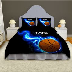 Boys Basketball Personalized Comforter Set, Sports Bedding has Blue Flames - Eloquent Innovations Boys Bedding Sets, Kids Comforters, Sports Bedding, Grey Comforter Sets, Twin Xl Comforter, Boys Basketball Bedroom, Basketball Bedding, Basketball Stuff, College Bedding
