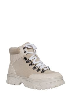 9bacb164c2ab66 Kylie White Croc and Ice Suede Lace Up Hiking Ankle Boots