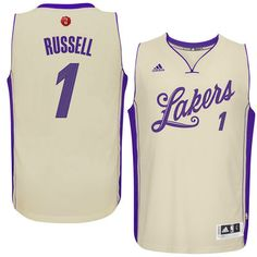 Men's Los Angeles Lakers D'Angelo Russell adidas Cream Christmas Day Swingman Jersey