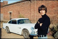 pictures of george harrison at esher | George Harrison next to his Aston Martin at his home in Esher, 1965 ...