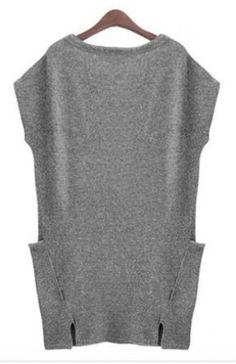 ++ Grey Sleeveless Pockets Bodycon Sweater Dress