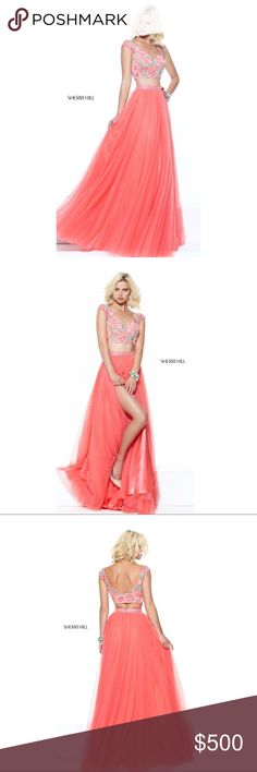 SHERRI HILL Coral Two Piece Prom Dress Sherri Hill prom dress •size 2 •coral •beaded top •layered bottom •cap sleeve •slit skirt •worn only a couple times  PERFECT CONDITION  Wore this to my junior prom and got TONS of compliments. I love Sherri Hill dresses because they are good quality (don't break and great, authentic material) it was pretty comfortable and since my school doesn't allow two piece dresses I pulled it up to get in and it worked fine. Sherri Hill Dresses Prom