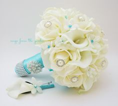 Bridal Bouquet Stephanotis Roses Calla Lily Tiffany Blue Ribbon with Groom's Boutonniere - Real Touch Bouquet and Boutonniere