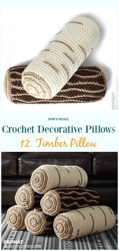 Timber Pillows Crochet Free Pattern - #Crochet; Decorative #Pillow; Free Patterns