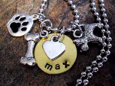 Dog Jewelry Dog Necklace Personalized Dog Jewelry by CharmAccents, $23.00