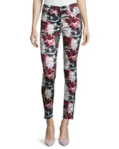 Mid-Rise Skinny Contour Jeans, Gallery Floral, Size: 29 - 7 For All Mankind