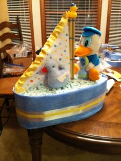 Diaper cake sailboat for the shower