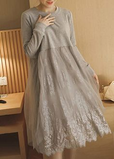 Solid Grey Scalloped Hem Lace Panel Tunic Dress on sale only US$30.16 now, buy cheap Solid Grey Scalloped Hem Lace Panel Tunic Dress at lulugal.com