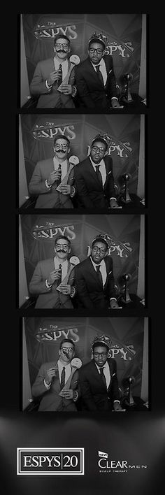 Christian Watford hams it up in a photo booth with Aaron Rodgers after winning an ESPY for Play of the Year.