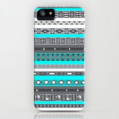 Ice Mint Blue Grey Aztec Pattern iPhone iPhone & iPod Case by RexLambo - $35.00