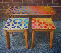 Upcycled 1960s Retro Homeworthy Nest of tables