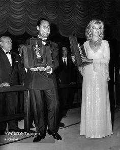 Alberto Sordi and Monica Vitti are awarded the David di Donatello an actors Alberto Sordi and Monica Vitti at the award ceremony for the Best Actor in Leading Role and Best Actress in Leading Role at the David di Donatello Awards. Taormina, August 1969