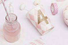 Use Glitter tape on cups!  :)  great idea - Charlotte love
