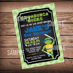 Blue Teenage Mutant Ninja Turtles Invitation, Printable, TMNT Invitation, Turtles Birthday TMNT Invite by WeAreHavingaParty on Etsy https://www.etsy.com/listing/217864432/blue-teenage-mutant-ninja-turtles