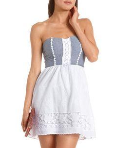 Denim Top Lace Tube Dress: Charlotte Russe