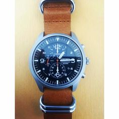 SEIKO SNDA57 with brown leather NATO strap