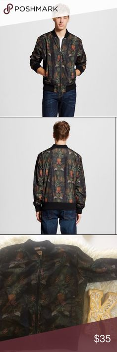 Tropical Pineapple Black Bomber Jacket Excellent condition you might mistake it for brand new . Water resistant, and super stylish. Mossimo Supply Co Jackets & Coats Bomber & Varsity