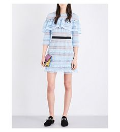 149553bebb SELF-PORTRAIT - Stripe Grid guipure-lace mini dress