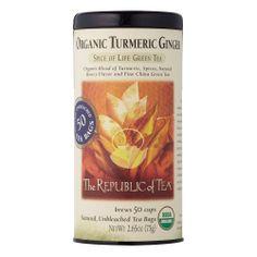 The Republic Of Tea Organic Tumeric Green Tea 50 Teabags: Amazon.com: Grocery & Gourmet Food