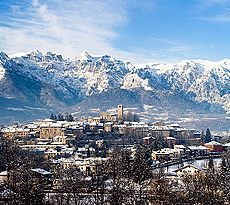 Italy, Veneto, Belluno district, Feltre, View of the town with Dolomiti Mts.