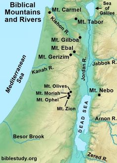 Biblical Mountains and Rivers Map Hebrew Words, Bible Words, Old Testament Bible, Jesus Scriptures, Bible Timeline, Bible Topics, Bible Mapping, Bible Study Notebook, Bible Illustrations