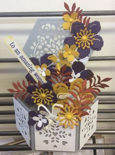 Pop up box, Mothers Day Card,  Flowers and foliage, purple and yellow, amazing woman sentiment, boxed, handmade, crafting, stampin'up,