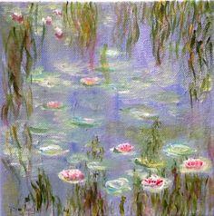 Nénuphars 4 d après Les nymphéas de Claude Monet acrylique 20x20 : Peintures par magaline-arts