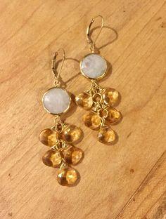 Citrine Earrings, Rainbow Moonstone Earrings, Cluster Earrings, Gemstone Earrings, Festive Earrings, Dangle Earrings, Gold Earrings, Boho