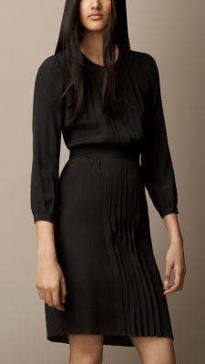 Pleat Detail Cotton Silk Dress