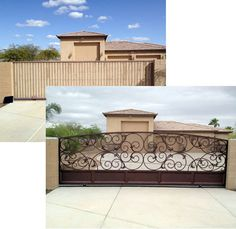 Colletti Design - Wrought Iron Driveway Gate #wroughtirongate #drivewaygates #irongates #remodeling #ornamentaliron