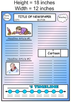 newspaper template for school project