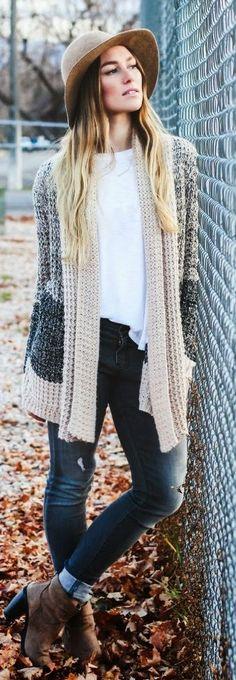 Grey Multi Chunky Knit Cardi