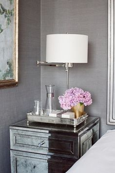 bedroom color- the lilac and gray are pretty together but don't think the warm brown furniture will go well.