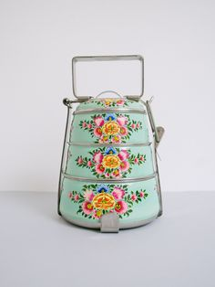 Handpainted Tiffin Carrier - Jasmine - The New Domestic