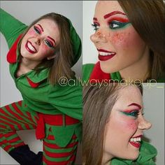 allwaysmakeup_Day 58/100 It's beginning to look a lot like Christmas!! SO HAPPY! Christmas elf complete with glitter brows and lips and red freckles! And, of course, my elf onesie pjs used nose and scar wax for my pointed nose again #100daysofmakeup #christmaself #christmas #holidays #redandgreen #christmasspirit #glitterbrows #glitterlips #redlip #redbrows #pointednose #elf #rosycheeks #redfreckles #northpole #santashelper #makeup #makeupartist #mua #sfxmakeup #sfx #glitter #glitterline