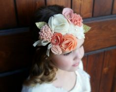 Peaches and Cream Felt Flower Crown// by CocoandGigisBoutique