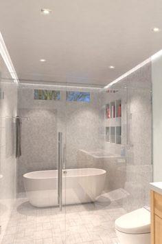 Bathroom Lighting Inspiration, Shower Lighting, Bathroom Installation, Bath Or Shower, Bathroom Light Fixtures, Light Fittings, Architect Design, Bathroom Flooring, Lighting Design