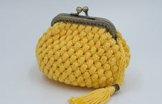 Yellow Crochet Coin Purse, Crochet Wallet, Handmade Crochet Wallet, Cute Purse, Purse With Frame, Coin Purse, Kiss Lock Coin Purse Crochet Wallet, Crochet Coin Purse, Crochet Bags, Knitted Beret, Knitted Gloves, French Beret Hat, Wool Berets, Chunky Wool, Coin Purses